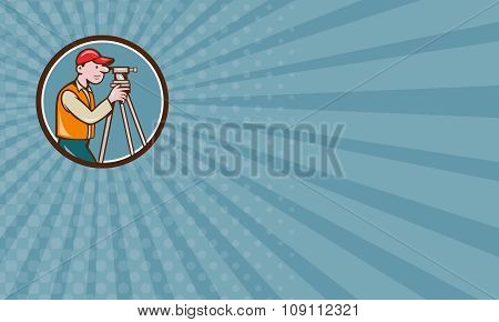 Business Card Surveyor Geodetic Engineer Theodolite Circle Cartoon