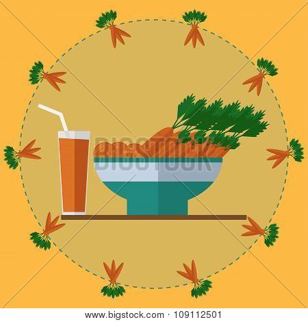 Flat Desing Of Carrots And Carrots Juice Of Healthy Food And Clean Foods. Vector Illustration.