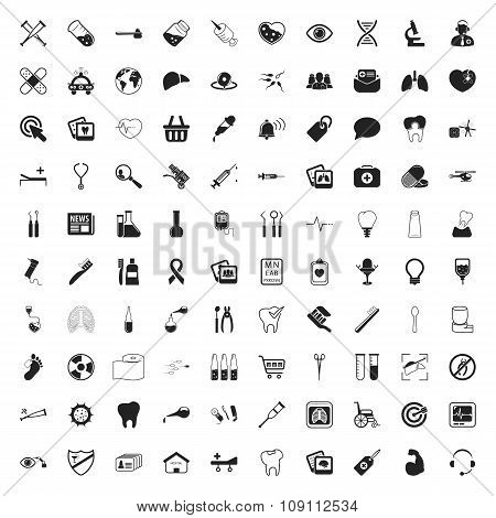 Health Care 100 Icons Set For Web