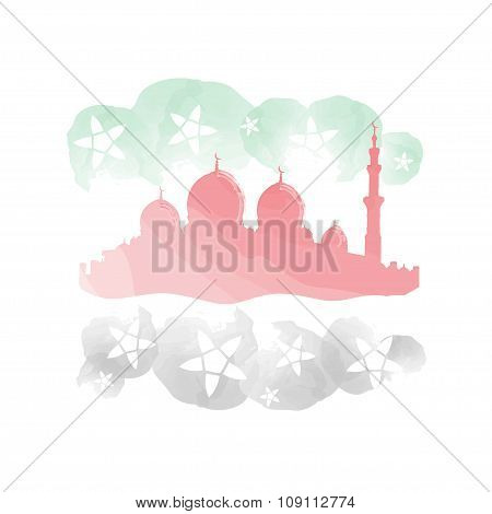 Mosque Painting With Arab Emirates Flag Colors