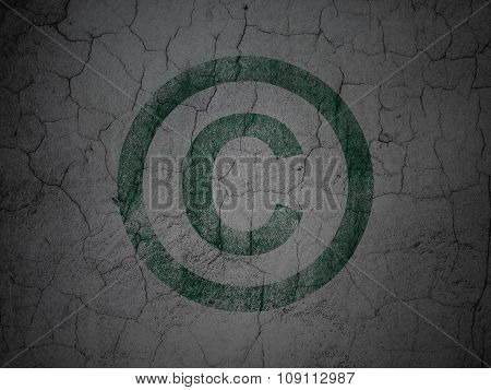 Law concept: Copyright on grunge wall background