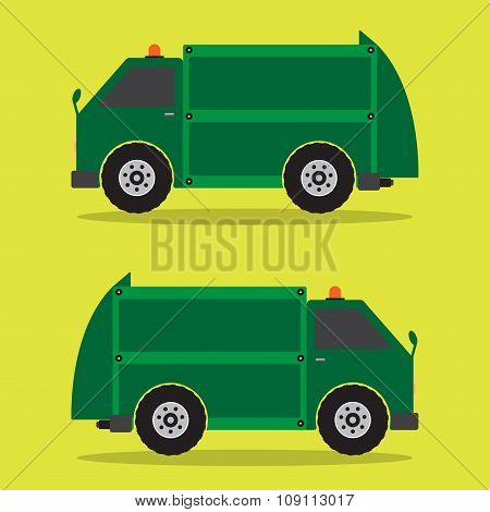 Garbage Truck Flat Design In Green Color. Vector Illustration.
