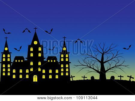 Church And Graveyard With Dead Tree And Flying Bats And Blue Sky After Sunset For Halloween Backgrou