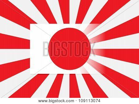 Japan Flag With Japan Navy Flag In Background. Vector Illustration