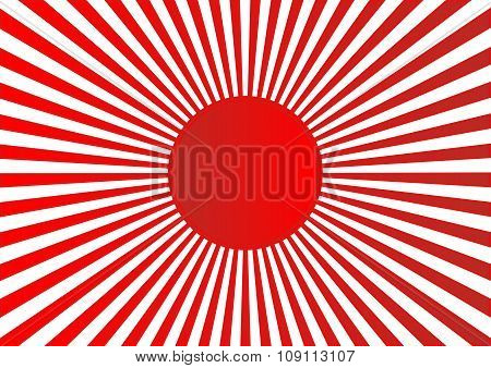 Red Sun With Ray On White Background Japan Flag Style. Vector Illustation.