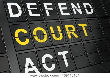 Law concept: Court on airport board background