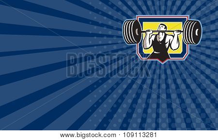 Business Card Weightlifter Lifting Heavy Barbell Retro