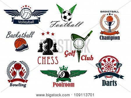 Sports game club and team heraldic emblems