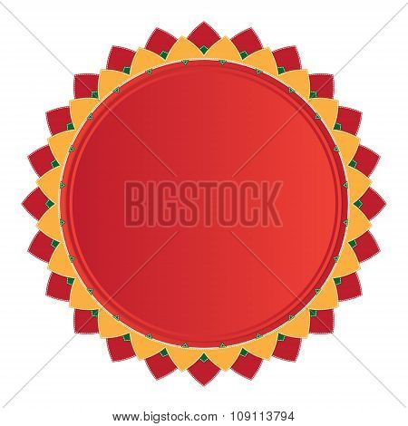 Ornament Round Mandalas Red Color With Yellow Rays Decorative Elements Islam, Arabic, Indian, Ottoma