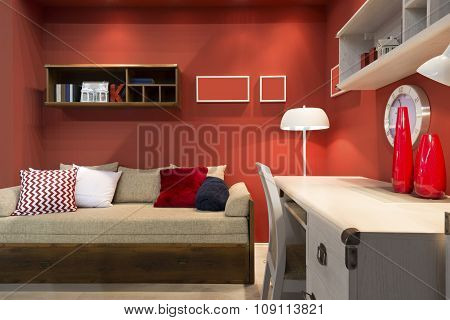 Interior Of Red Student (teenager) Room - Back To School