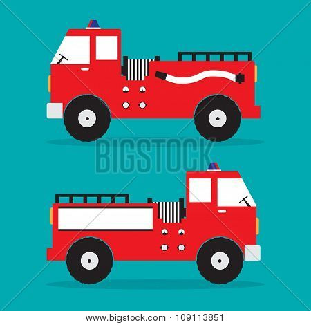 Fire truck red engine car with shadow on blue background. Vector illustration.