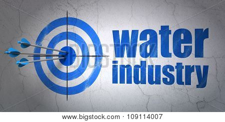 Industry concept: target and Water Industry on wall background