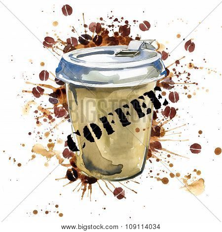Coffee watercolor. Coffee cup and coffee grains isolated on white background. Watercolor illustratio