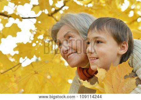 Happy grandmother with her grandson