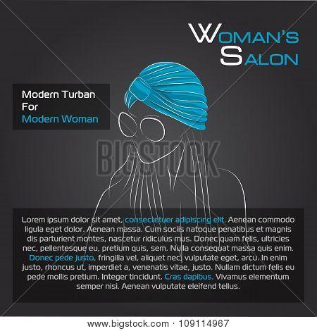 Woman in blue turban on black