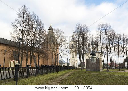 Suzdal, Russia -06.11.2015. Square in front of St. Euthymius monastery at Suzdal was built 16th cent