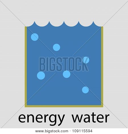 Water energy icon flat design concept