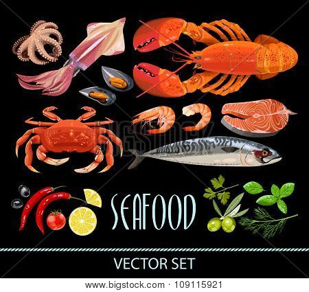 Set of seafood