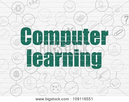 Learning concept: Computer Learning on wall background