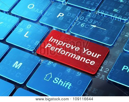 Learning concept: Improve Your Performance on computer keyboard background