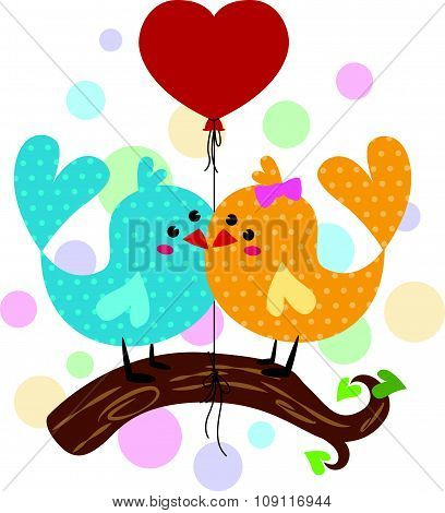 Cute Couple bird branches and red heart balloon