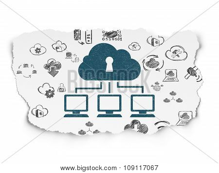 Cloud networking concept: Cloud Network on Torn Paper background