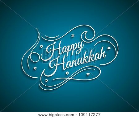 Happy Hanukkah inscription greeting card with hand-drawn typography calligraphy old design.Beautiful