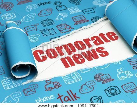 News concept: red text Corporate News under the piece of  torn paper