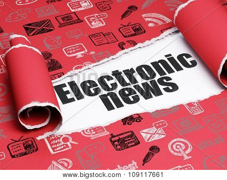 News concept: black text Electronic News under the piece of  torn paper