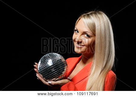 Young Beautiful Woman With Mirrored Ball.