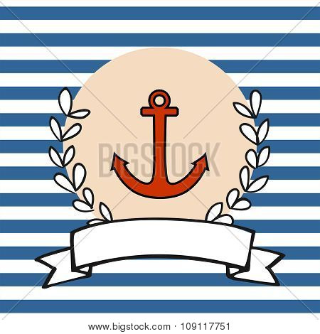 Nautical vector card or sailor invitation with anchor and blue stripes