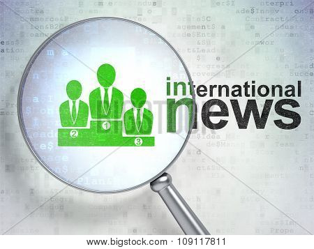 News concept: Business Team and International News with optical glass