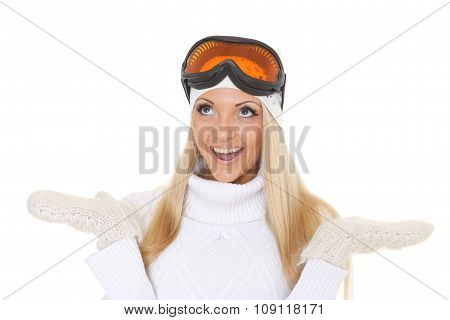 Young Woman  In Winter Warm Clothes And Ski Glasses.