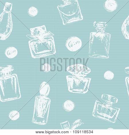 Vector Chalk Drawn Perfume Bottles And Polka Dot Seamless Pattern