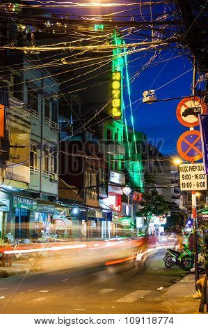 Night view of the Bui Vien street, Saigon, Vietnam