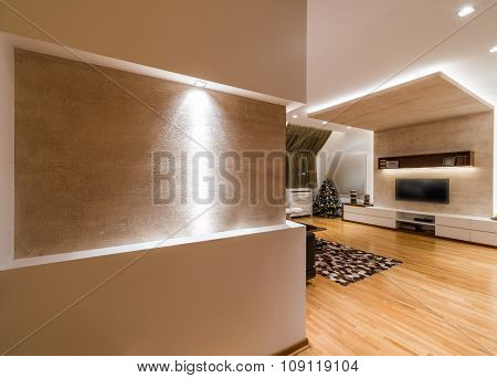 Ambient Light In Modern Apartment Interior