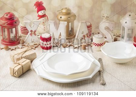 Christmas Composition. Christmas Table Setting With Christmas Decorations. Image Toned In Vintage St