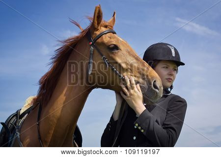 Beautiful Young Girl Jockey With Her Horse