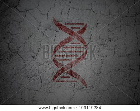 Health concept: DNA on grunge wall background