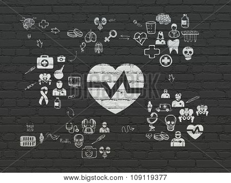 Healthcare concept: Heart on wall background