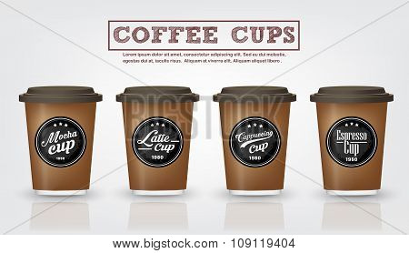 Collection Of  Vintage Coffee Badges And Logo Design On Coffee Cup Vector illustration