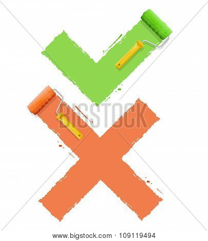Cross Check Symbol Yes  or No. Vector