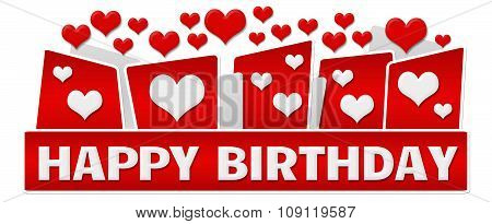 Happy Birthday Red Hearts On Top