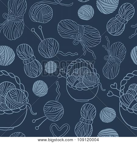 I love knitting! Fun seamless vector pattern for your design, scrapbook pages, blog, textile. Hand d