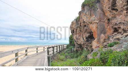 Limestone Rockwall and Walkway to the Indian Ocean