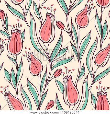 Seamless Pattern Wit Tulips