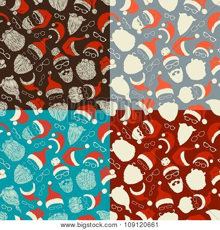 Set Of Seamless Pattern Of Santa Hats, Beards And Eyeglasses.