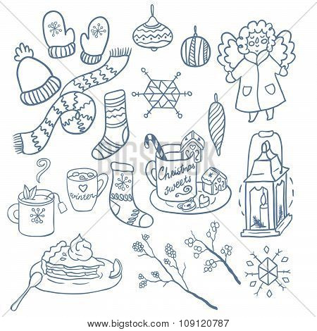 Winter fun hand drawn vector set. Decorative traditional elements. Symbols of Christmas.