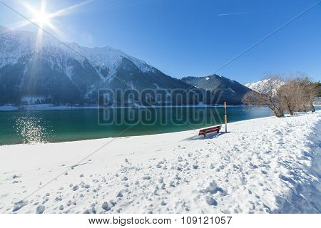 Mountain Lake Winter Landscape on a Sunny Day. Achensee Austria.