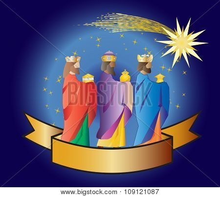 Three Wise Men Or Three Kings. Nativity Illustration Christmas Card
